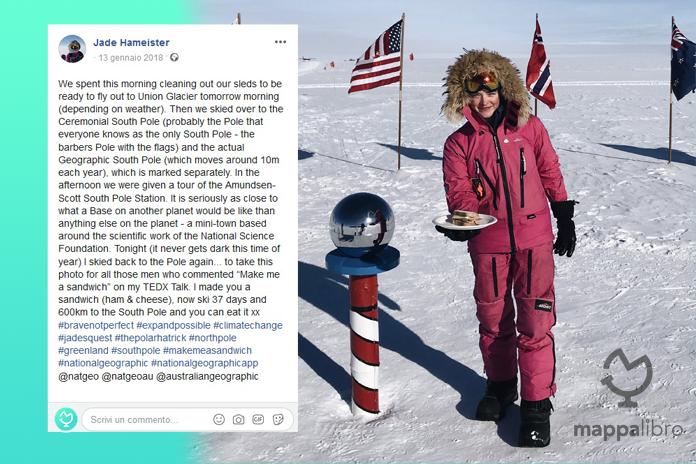 Foto di Jade Hameister al Polo Sud